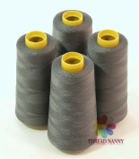 4 Large Cones (3000 yards each) of Polyester threads for Sewing Quilting Serger Dark Grey Colour from ThreadNanny