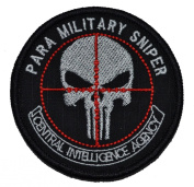 CIA Paramilitary Sniper Punisher Skull 7.6cm Diameter Military Patch / Morale Patch - Black