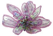 Cuteque International 6-Piece Organza Embroidery Orchid Craft Beaded Trim, 7cm , Plum