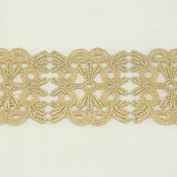 Gold metallic lace trim metallic ribbon trim by the yard for fabric Millinery accent motif scrapbooking card making lace decoration baby headband hair accessories dress accessories Bridal beaded trim by Annielov trim #284