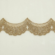 3.8cm Gold Metallic Rayon Embroidery Scalloped Lace Trim - Bridal wedding Lace Trim wedding fabric Millinery accent motif scrapbooking crafts lace for baby headband hair accessories dress bridal accessories by Annielov trim #340
