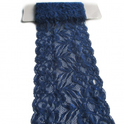 1 Yard 13cm - 2.2cm Navy Blue Stretch Polyester Embroidery Eyelet Lace Trims