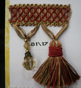 Beaded Tassel Fringe Trim 8.9cm Style# Bf 4027 81/17 Red/Gold