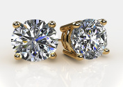 NANA 14k Gold Post & Sterling Silver 4 Prong Pure Brilliance CZ Stud Earrings CZ 1.0ctw to 8.0ctw