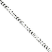 14k White Gold 7in 2.50mm Lightweight Curb Link Chain Bracelet. Metal Wt- 1.13g