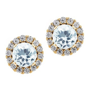 1.29 Ct Sky Blue Aquamarine Yellow Gold Plated 925 Silver Earrings with Jackets