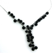 Sterling Silver and Onyx Bead Cluster Necklace