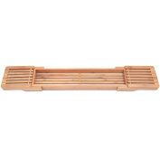 Adjustable Bamboo Bathtub Caddy by ToiletTree Products.