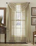 LuxuryDiscounts Beautiful Elegant Solid Taupe Sheer Scarf Valance Topper 100cm X 550cm Long Window Treatment Scarves