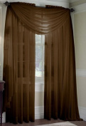LuxuryDiscounts Beautiful Elegant Solid Chocolate Brown Sheer Scarf Valance Topper 90cm X 550cm Long Window Treatment Scarves