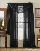 LuxuryDiscounts Beautiful Elegant Solid Black Sheer Scarf Valance Topper 100cm X 550cm Long Window Treatment Scarves
