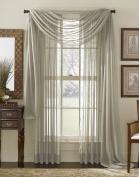 LuxuryDiscounts Beautiful Elegant Solid Grey / Grey Sheer Scarf Valance Topper 90cm X 550cm Long Window Treatment Scarves