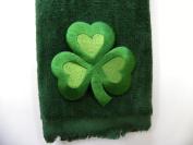 St. Patrick's Clover Hand Bath Fingertip Towel Green Applique Shamrock