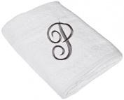 Avanti Linens Premier White/Silver Script Monogram Bath Towel, White/Silver, E