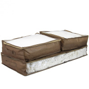 Paylak SCR340BR Set of 3 Storage Bags Under the Bed See Through Window Brown Woven