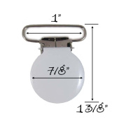 10 White Enamel Round Face 2.5cm Suspender Clips w/ Rectangle Inserts