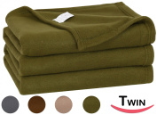 Twin Polar-Fleece Thermal Blanket Basil (180cm by 230cm ) - Extra Soft Brush Fabric, Super Warm Bed Blanket, Lightweight Couch Throw Blanket, Easy Care - By Utopia Bedding
