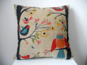 "Decorbox Retro Cotton Linen Square Throw Pillow Case Decorative Cushion Cover Pillowcase Cute Birds on Tree 46cm X18 """