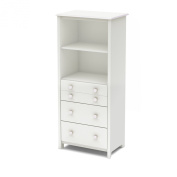 South Shore Little Smileys Shelving Unit with Drawers, Pure White