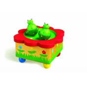 Boxed wooden clockwork dancing frog music box musical box