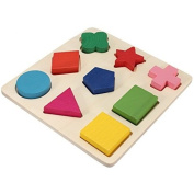 Homgaty Colourful Wooden Building Blocks 9 Shapes Plate Baby Kids Toy Educational