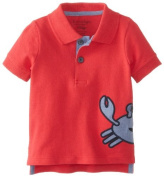 Kitestrings Baby-Boys Newborn Crab Cotton Interlock Short Sleeve Polo, Red, 0-3 Months Colour