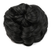 Homgaty Women's Lady Clip in Ponytail Wave Hair Bun Extension Cover Hairpieces Black