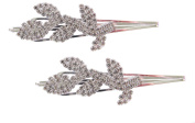 Pick A Gem Pair of Silver Diamante Leaf Design Bobby Pins / Ribbon Hair Clips / Kirby Grips
