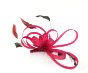dark red wine colour looped fascinator comb for weddings, races, prom