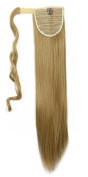 "New Fashion 24""(60cm) Straight Ash Blonde Wrap Around Ponytail Clip in Hair Extensions Extension hook and loop Strap Pony Tail Long Popluar Style"
