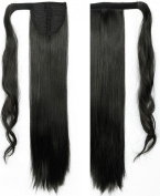 "Hot Sell 24""(60cm) Straight Natural Black Wrap Around Ponytail Clip in Hair Extensions Extension hook and loop Strap Pony Tail Long Popluar Style"