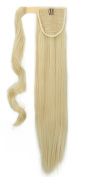 "New Fashion 24""(60cm) Straight Bleach Blonde Wrap Around Ponytail Clip in Hair Extensions Extension hook and loop Strap Pony Tail Long Popluar Style"