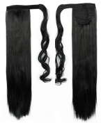 "Trendy 24""(60cm) Straight Dark Black Wrap Around Ponytail Clip in Hair Extensions Extension hook and loop Strap Pony Tail Long Popluar Style"