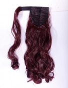 "Hot Sell 18""(45cm) Curly Wine Red Wrap Around Ponytail Clip in Hair Extensions Extension hook and loop Strap Pony Tail Long Popluar Style"