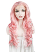 Long Wave Pink Colour Quality Wigs Kim Kardashian Beauty Synthetic Lace Wigs for Cosplay Party