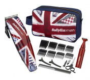 Battery Operated Babyliss for Men 7436Gu Cool Britannia Mains Clipper Set