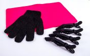 Heat Protection Glove, Pink Heat proof Mat & 4 x Cloud 9 Clips For use with GHD & Cloud 9