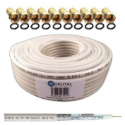 HB-Digital HQ-135 PRO Quadruple Coated Coaxial Satellite Cable for DVB-S/S2, DVB-C and DVB-T BK Systems and 10 gold-plated sockets 130 dB 25m