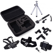 WINGONEER® Accessories Set 7pcs - Storage Protective Carry Case Bag + Telescoping Handheld Monopod + Handlebar Mount Holder + Chest strap + Head Strap + Wrist Strap + Tripod for Gopro Hero 1 2 3 3+