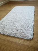 NEW SOFT PLAIN SHAGGY MATS MACHINE WASHABLE NON SLIP LARGE SMALL BEDROOM RUGS (50 x 80cm)