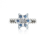 Bling Jewellery Silver Simulated Blue Topaz CZ Snowflake Bead Fits Pandora Charms