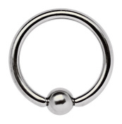 Nose Piercing, Finger Nail Ring 1.0 x 5 mm with Clamping Ball Piercing Titan