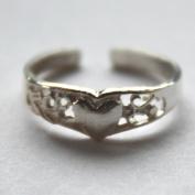 925 sterling Silver Adjustable Toe Ring Fancy Heart
