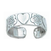 925 sterling Silver Adjustable Toe Ring Hearts and Orchid Flower Design