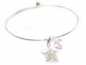 Silver Bangle Bracelet with. Elements and Sterling Silver and Cubic Zirconia Star Charm