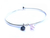 Silver Bangle Bracelet with. Elements and Sterling Silver Stamped Personal Initial Dangle Charm