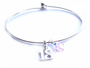 Happy 18th Birthday Silver Bangle Bracelet with Pink. Elements and Sterling Silver Stamped 18 Dangle Charm