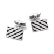 Hoxtons London Men's Cuff Links Sterling Silver Striped Rectangular Design