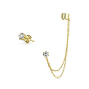 Bling Jewellery Gold Plated 925 Silver Double Chain CZ Linked Modern Ear Cuff Set
