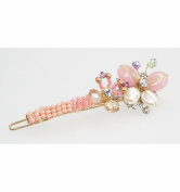 Small pink hair barrettes butterfly design, handmade crafts with natural stones